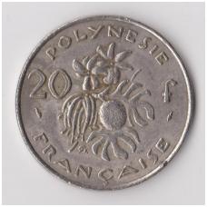 PRANCŪZŲ POLINEZIJA 20 FRANCS 1975 KM # 9 F-VF