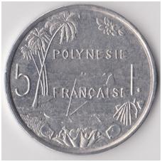 PRANCŪZŲ POLINEZIJA 5 FRANCS 1991 KM # 12 XF