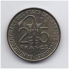 VAKARŲ AFRIKA 25 FRANCS 1980 KM # 9 UNC FAO