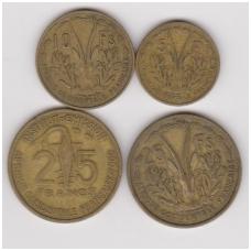 Prancūzų Vakarų Afrika 4 monetų rinkinukas 1956 - 1957 KM # 5,6,7,9 F / VF