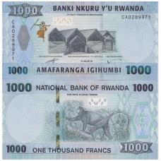 RUANDA 1000 FRANCS 2019 P # new UNC