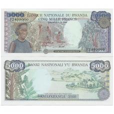 RUANDA 5000 FRANCS 1988 - 1989 P # 22a AU