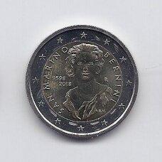 SAN MARINAS 2 EURAI 2018 BERNINI (kapsulėje, moneta nuo ritinėlio viršaus)