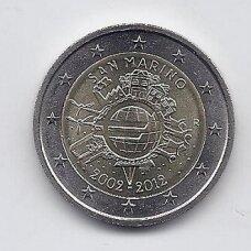 SAN MARINAS 2 EURO 2012 KM # 519 AU 10 m. eurui (be lankstinuko)