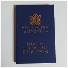 SAN MARINAS 2008 pilnas euro monetų proof rinkinys