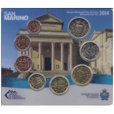 SAN MARINAS 2014 m. pilnas euro monetų komplektas (lankstinukyje)