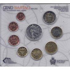 San Marinas 2014 pilnas euro monetų rinkinys su 5 eurų sidabrine moneta skirta Gino Bartali ( lankstinukyje )