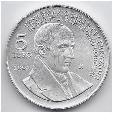 SAN MARINAS 5 EURO 2004 KM # 458 UNC BARTOLOMEO BORGHESI