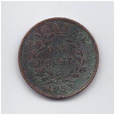 SARAVAKAS 1 CENT 1937 KM # 18 F