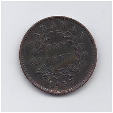 SARAVAKAS 1 CENT 1937 KM # 18 VF