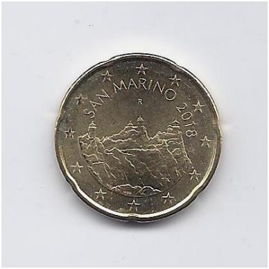 SAN MARINAS 20 EURO CENTŲ 2018 KM # new UNC