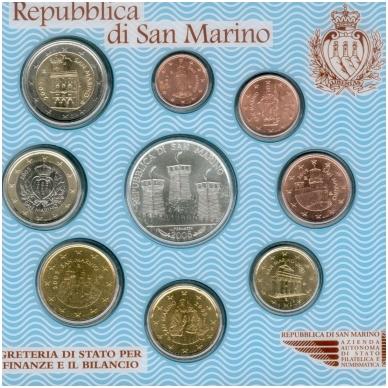 San Marinas 2005 pilnas euro monetų rinkinys su 5 eurų sidabrine moneta Antonio Onofri (lankstinukyje) - 1 centas su defektu