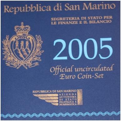 San Marinas 2005 pilnas euro monetų rinkinys su 5 eurų sidabrine moneta Antonio Onofri (lankstinukyje) - 1 centas su defektu 2