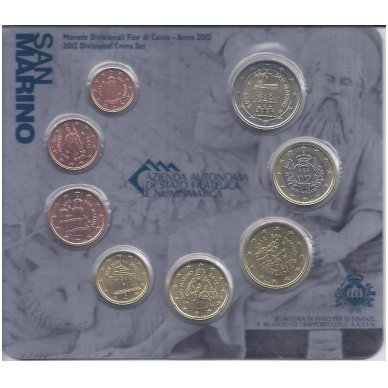 SAN MARINAS 2012 m. pilnas euro monetų komplektas (lankstinukyje)