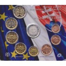 SLOVAKIJA 2009 m. OFICIALUS BANKINIS RINKINYS SU SIDABRINIU MEDALIU