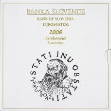 SLOVĖNIJA 2008 m. OFICIALUS EURO MONETŲ RINKINYS SU PROGINE 3 EURŲ MONETA