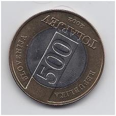 SLOVĖNIJA 500 TOLARJEV 2002 KM # 45 AU