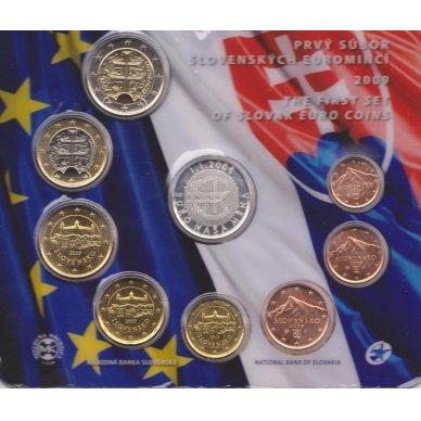 SLOVAKIJA 2009 m. OFICIALUS BANKINIS RINKINYS SU SIDABRINIU MEDALIU 2