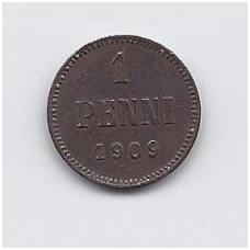 SUOMIJA 1 PENNI 1909 KM # 13 VF