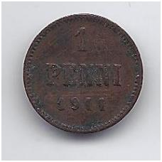 SUOMIJA 1 PENNI 1911 KM # 13 F
