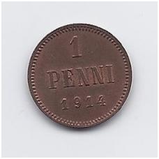 SUOMIJA 1 PENNI 1914 KM # 13 VF