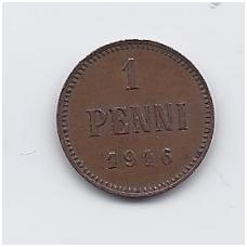 SUOMIJA 1 PENNI 1916 KM # 13 VF