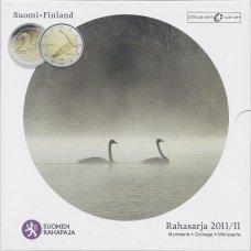 SUOMIJA 2011 m. OFICIALUS EURO MONETŲ RINKINYS SU PROGINE 2 EURŲ MONETA