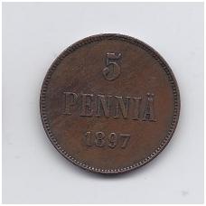 SUOMIJA 5 PENNIA 1897 KM # 15 VF