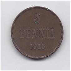 SUOMIJA 5 PENNIA 1913 KM # 15 VF