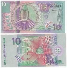 SURINAMAS 10 GULDEN 2000 P # 147 AU