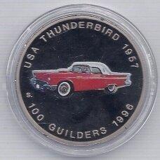SURINAMAS 100 GUILDERS KM # 47 THUNDERBIRD 1957