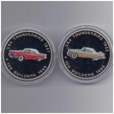 SURINAMAS 2 X 100 GUILDERS 1996 KM # 46 IR KM # 47 THUNDERBIRD 1956 - 1957