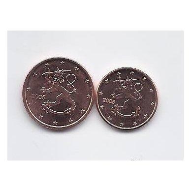 SUOMIJA 1 IR 2 EUROCENTS 2005 KM # 98 - 99 UNC
