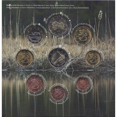 SUOMIJA 2011 m. OFICIALUS EURO MONETŲ RINKINYS SU PROGINE 2 EURŲ MONETA 2