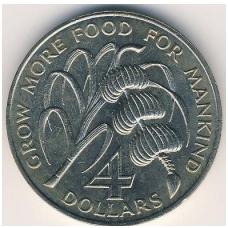 ŠV. KRISTOFORAS IR NEVIS 4 DOLERIAI 1970 KM # 1 UNC F.A.O.