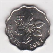 SVAZILENDAS 5 CENTS 2007 KM # 48 UNC