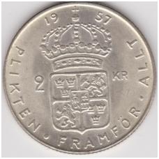 ŠVEDIJA 2 KRONOR 1957 KM # 827 XF