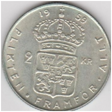 ŠVEDIJA 2 KRONOR 1959 KM # 827 XF