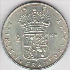 ŠVEDIJA 2 KRONOR 1961 KM # 827 XF