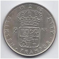 ŠVEDIJA 2 KRONOR 1963 KM # 827 XF