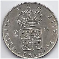 ŠVEDIJA 2 KRONOR 1965 KM # 827 XF