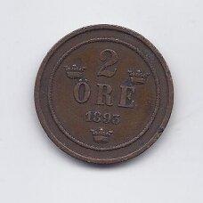 ŠVEDIJA 2 ORE 1893 KM # 746 VF
