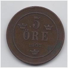 ŠVEDIJA 5 ORE 1907 KM # 770 VF