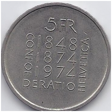ŠVEICARIJA 5 FRANCS 1974 KM # 52 XF
