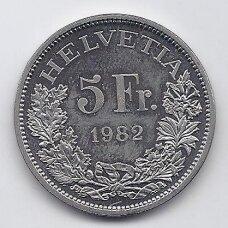 ŠVEICARIJA 5 FRANCS 1982 KM # 61 AU