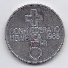 ŠVEICARIJA 5 FRANCS 1986 KM# 65 XF SEMPACH MŪŠIS