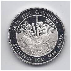 """TANZANIJA 100 SHILLINGS 1990 KM # 24 PROOF PARAMOS FONDAS """" SAUGOKIM VAIKUS """""""