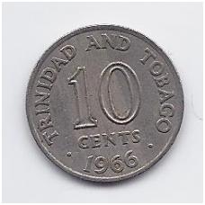 TRINIDADAS IR TOBAGAS 10 CENTS 1966 KM # 3 VF