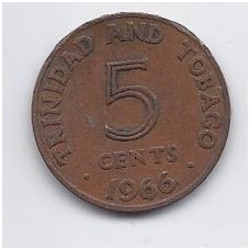 TRINIDADAS IR TOBAGAS 5 CENTS 1966 KM # 2 VF