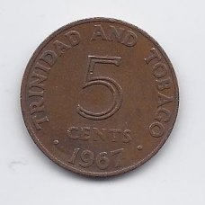 TRINIDADAS IR TOBAGAS 5 CENTS 1967 KM # 2 VF